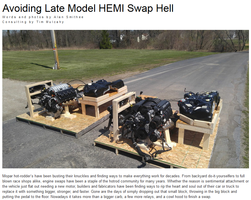 moparmax hemi swap article tim mulcahy